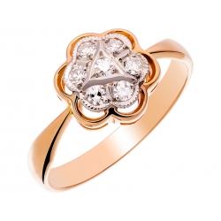Pierścionek z żółtego złota zdobiony diamentami