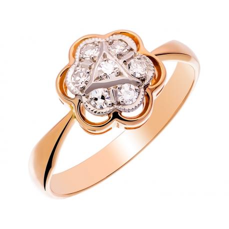 Pierścionek z żółtego złota zdobiony diamentami: GDR11517