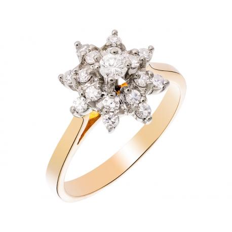Pierścionek z żółtego i białego złota zdobiony brylantem i diamentami 8/8: GDR11798