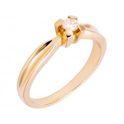 Pierścionek z żółtego złota zdobiony brylantem: GDR12724