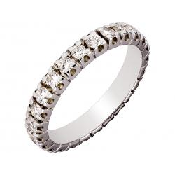 Pierścionek z białego złota zdobiony brylantami
