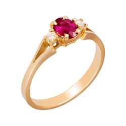 Pierścionek z żółtego złota zdobiony rubinem naturalnym i brylantami