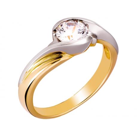 Pierścionek z żółtego złota zdobiony cyrkonią: GGR001