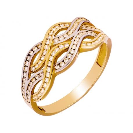 Pierścionek z żółtego złota zdobiony cyrkoniami: GGR002