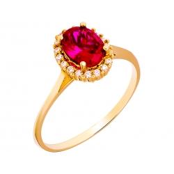 Pierścionek z żółtego złota zdobiony rubinem i cyrkoniami: GGR004
