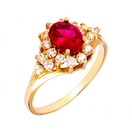 Pierścionek z żółtego złota zdobiony rubinem i cyrkoniami: GGR006