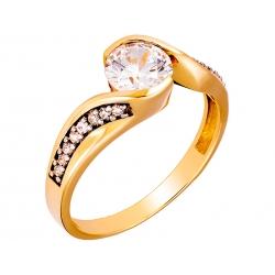 Pierścionek z żółtego złota zdobiony cyrkoniami: GGR007
