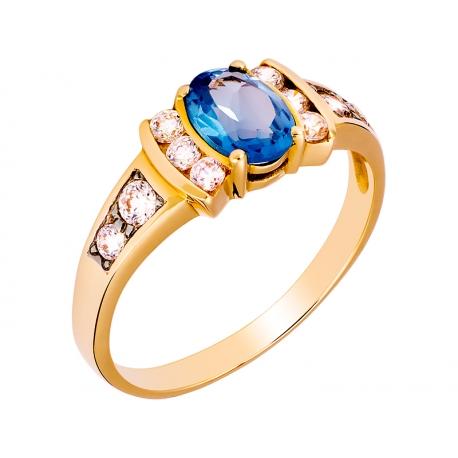 Pierścionek z żółtego złota zdobiony topazem niebieskim i cyrkoniami: GGR008