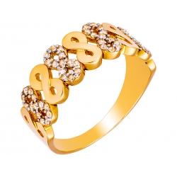 Pierścionek z żółtego złota zdobiony cyrkoniami: GGR009