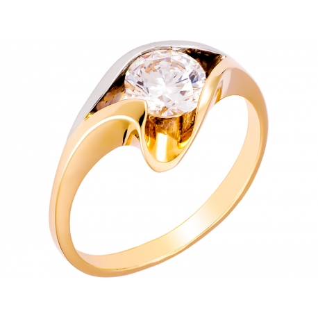 Pierścionek z żółtego złota zdobiony cyrkonią: GGR010