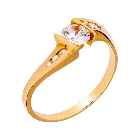 Pierścionek z żółtego złota zdobiony cyrkoniami: GGR011