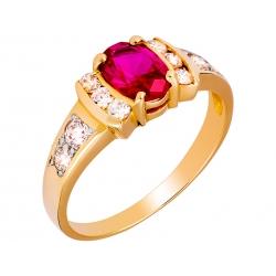 Pierścionek z żółtego złota zdobiony rubinem i cyrkoniami: GGR013
