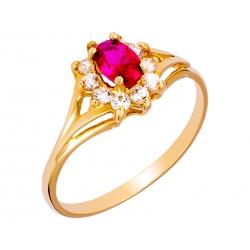 Pierścionek z żółtego złota zdobiony rubinem i cyrkoniami: GGR014