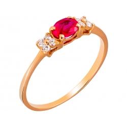 Pierścionek z żółtego złota zdobiony rubinem naturalnym i brylantami: GDR-K689-1