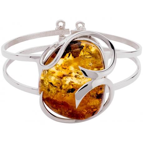 Bransoleta srebrna zdobiona bursztynem: S-B078