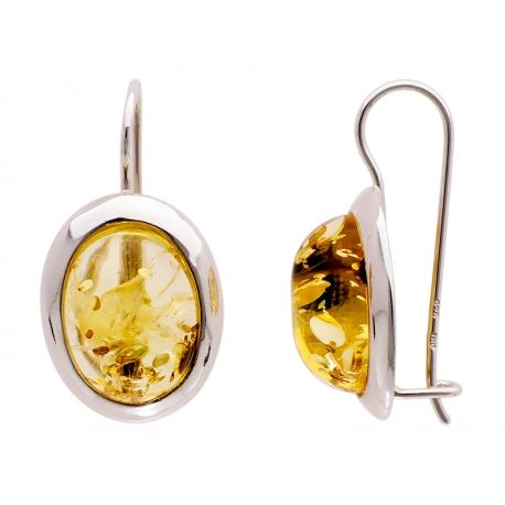 Kolczyki srebrne zdobione bursztynem: SAE005