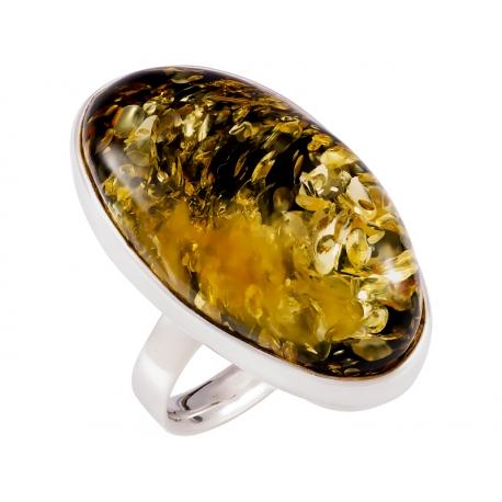Pierścionek srebrny z bursztynem naturalnym: SAR034