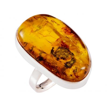 Pierścionek srebrny z bursztynem naturalnym: SAR036