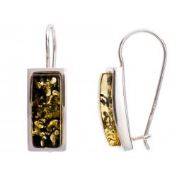 Kolczyki srebrne zdobione bursztynem