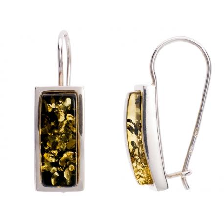 Kolczyki srebrne zdobione bursztynem: SAE012