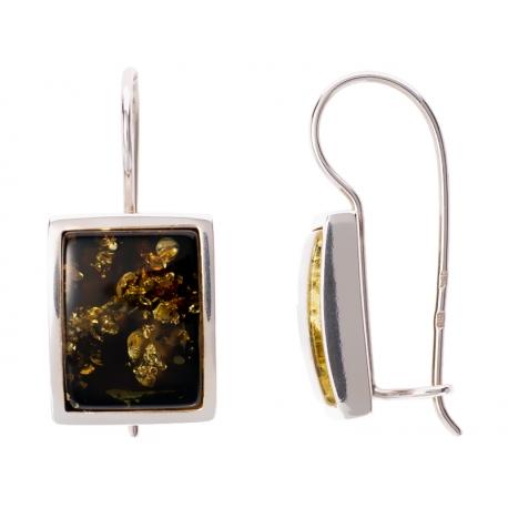 Kolczyki srebrne zdobione bursztynem: SAE019
