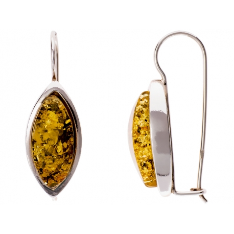 Kolczyki srebrne zdobione bursztynem: SAE020