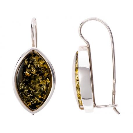 Kolczyki srebrne zdobione bursztynem: SAE021