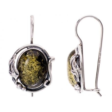 Kolczyki srebrne zdobione bursztynem: SAE024