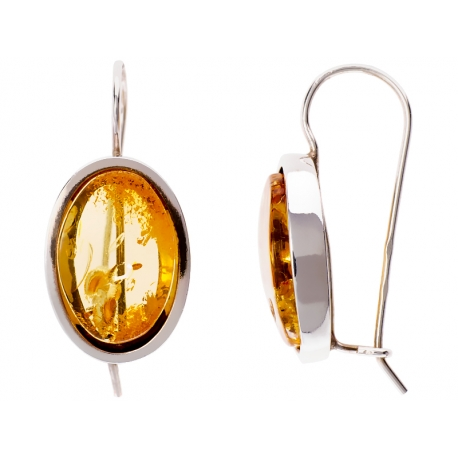 Kolczyki srebrne zdobione bursztynem: SAE025