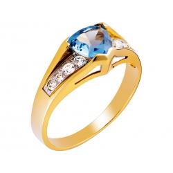Pierścionek z żółtego złota zdobiony topazem niebieskim i cyrkoniami: GGR022