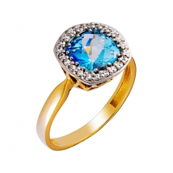 Pierścionek z żółtego złota zdobiony topazem niebieskim i cyrkoniami: GGR023