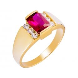 Pierścionek z żółtego złota zdobiony rubinem i cyrkoniami: GGR017