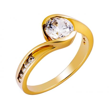 Pierścionek z żółtego złota zdobiony cyrkoniami: GGR018