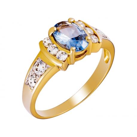 Pierścionek z żółtego złota zdobiony topazem niebieskim i cyrkoniami: GGR020