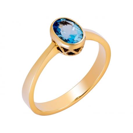 Pierścionek z żółtego złota zdobiony naturalnym topazem niebieskim: GGR025