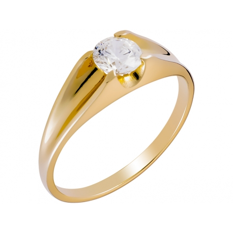 Pierścionek z żółtego złota zdobiony cyrkonią: GGR026