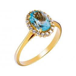 Pierścionek z żółtego złota zdobiony topazem niebieskim i cyrkoniami