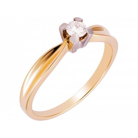 Pierścionek z żółtego złota zdobiony brylantem: GDR13140