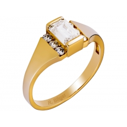 Pierścionek z żółtego złota zdobiony cyrkoniami