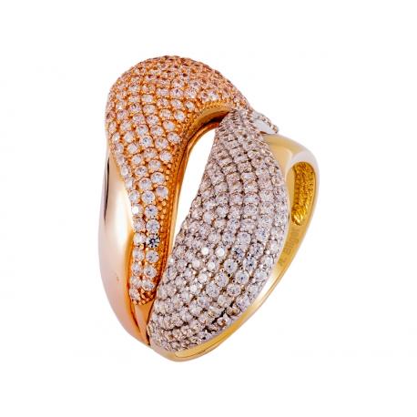 Pierścionek z żółtego złota zdobiony cyrkoniami: GGR030