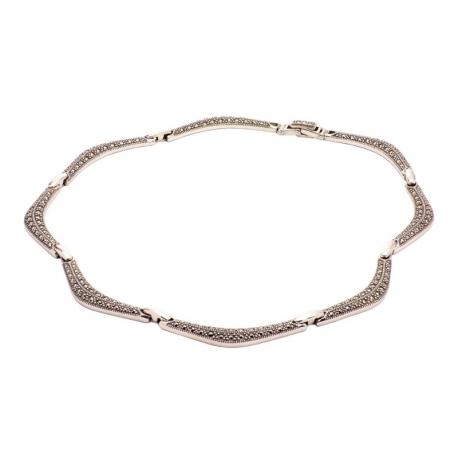 Naszyjnik srebrny z bursztynem na rzemyku