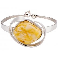 Bransoleta srebrna zdobiona bursztynem mlecznym: S-B096