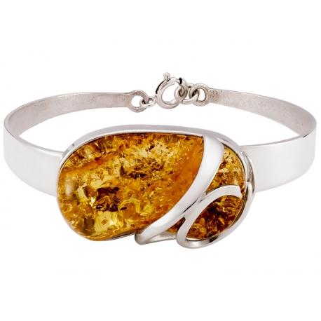 Bransoleta srebrna zdobiona bursztynem: S-B098