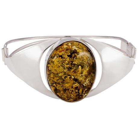Bransoleta srebrna zdobiona bursztynem: S-B099