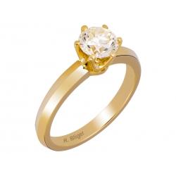 Pierścionek z żółtego złota zdobiony brylantem: GDR001RB