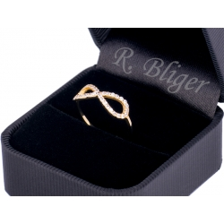 Pierścionek z żłótego złota zdobiony cyrkoniami: GGR058