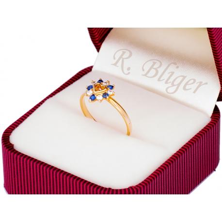 Pierścionek z żłótego złota zdobiony szafirami i cyrkoniami: GGR063