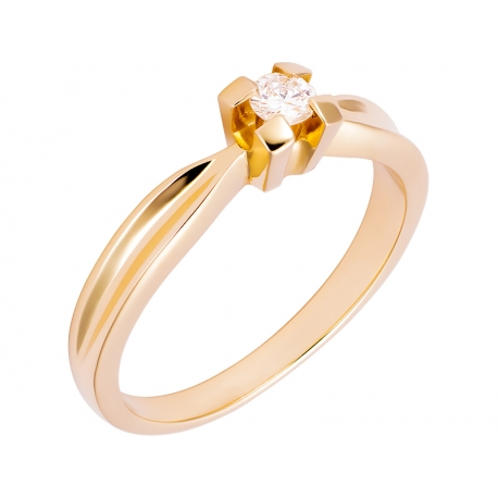 Pierścionek z żółtego złota zdobiony brylantem: GDR13139