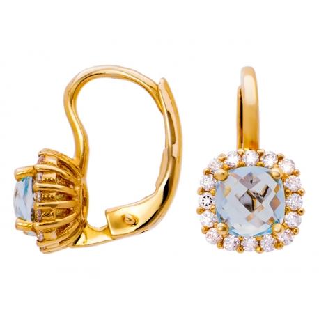 Złote kolczyki zdobione akwamarynem i cyrkoniami: GER003