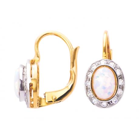 Złote kolczyki zdobione opalem i cyrkoniami: GER004